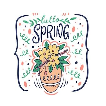 안녕하세요 봄과 꽃 냄비. 손으로 그린 낙서 만화