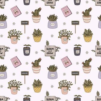 こんにちは春と園芸のシームレスなパターン、かわいいガーデンツール、花、フラットアウトラインスタイルの鉢に植物。