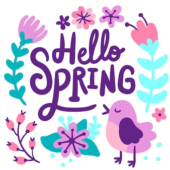 Hello spring background lettering