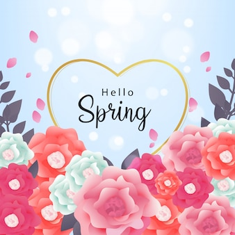 Hello spring background vector with pattern flower