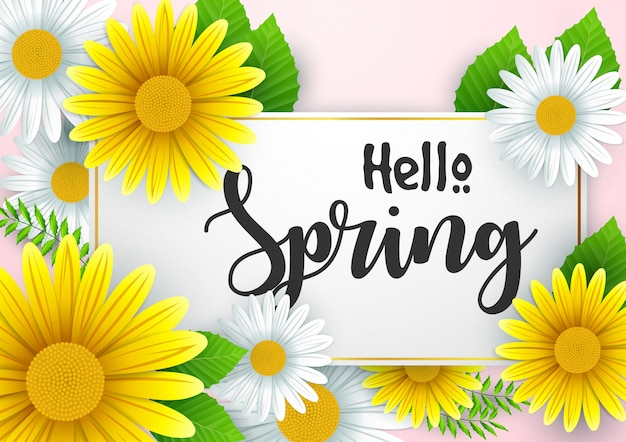 Hello spring background with beautiful flowers