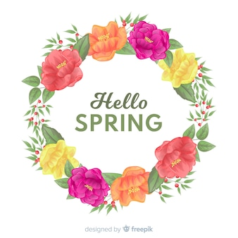 Hello spring background with beautiful frame