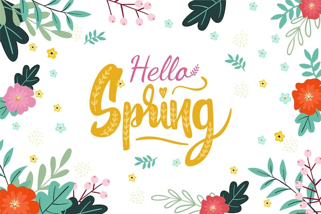 Hello spring background with colorful decoration