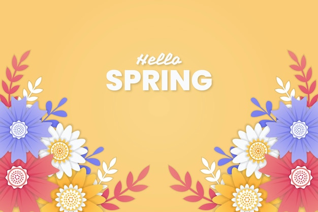 Hello spring background with colorful flowers in paper style