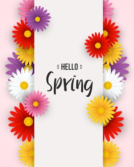 Hello spring background with colorful flowers and white frame
