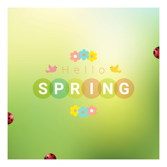 Hello spring background with colorful ladybugs