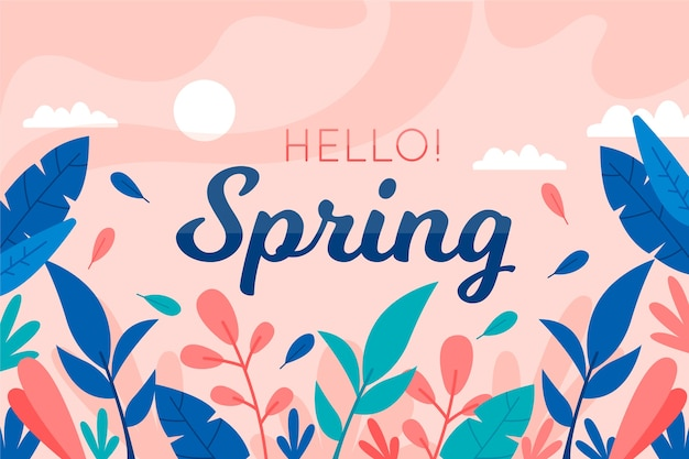 Hello spring background with colorful leaves