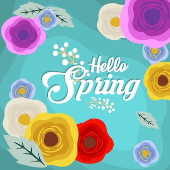 Hello spring background with flower illustration