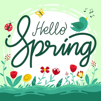 Hello spring background with flowers and bird