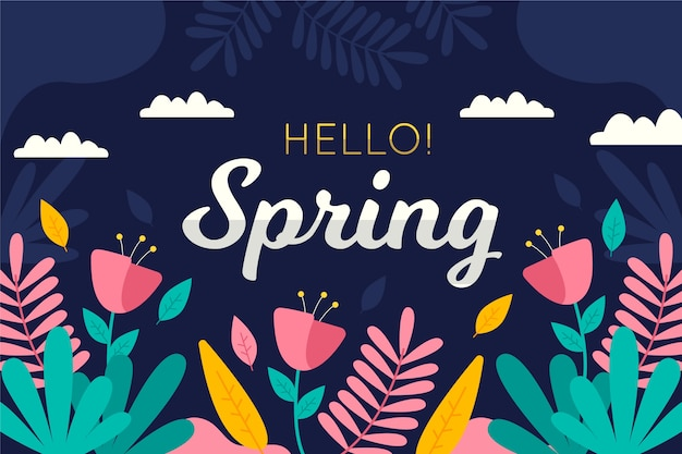 Hello spring background with flowers and clouds