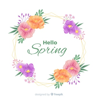 Hello spring background with hand drawn flowers