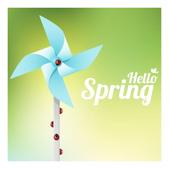 Hello spring background with ladybugs on colorful pinwheel
