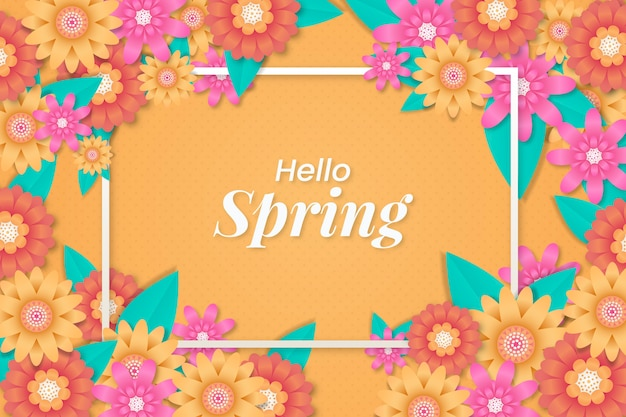 Hello spring background with multicolored flowers in paper style