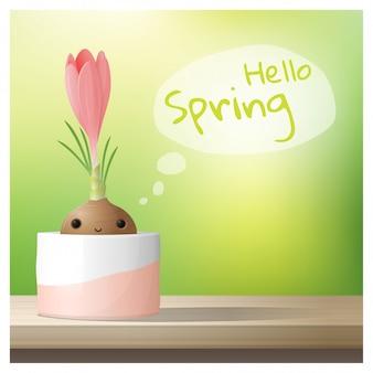 Hello spring background with spring flower crocus