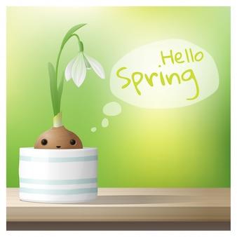 Hello spring background with spring flower snowdrop