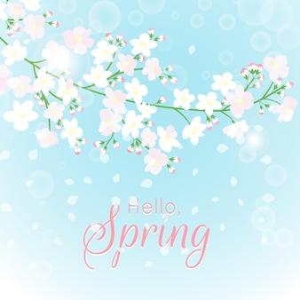 Ciao sfondo primavera con fiori primaverili