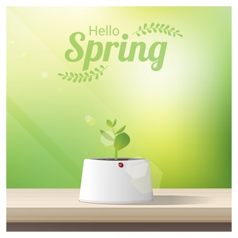 Hello spring background with young sprout