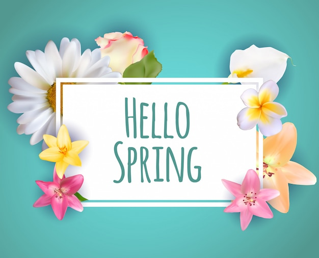 Hello spring banner greetings design  background with colorful flower elements.