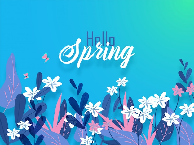 Hello spring banner or poster design decorated with flowers