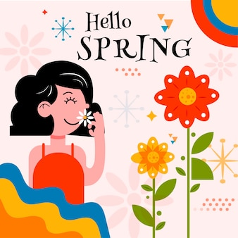Hello spring banner with woman smelling flower