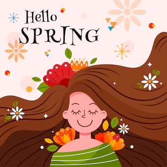 Hello spring banner with woman with long hair