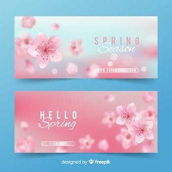Hello spring banners