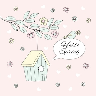Hello spring bloom nature season vector illustration set