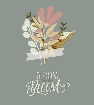 こんにちは春。手描き植物要素、境界線、花、葉、ロマンチックなレタリングと植物。 web、カード、ポスター、ステッカー、バナー、招待状、結婚式のための良いテンプレートです。図