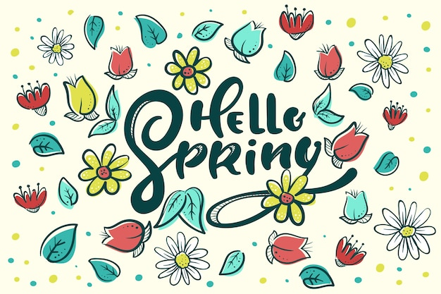 Hello spring calligraphy with flowers and petals