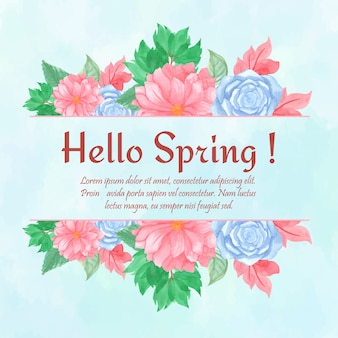 Hello spring card with gorgeous blue and pink floral frame