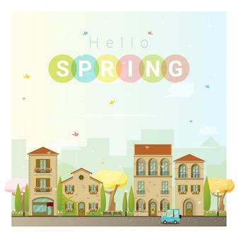 Hello spring cityscape background