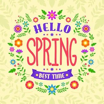 Hello spring colorful concept