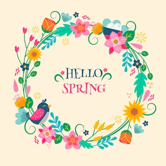 Hello spring colorful lettering concept