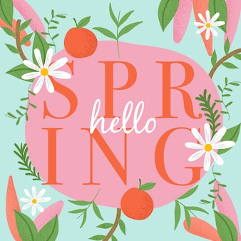 Hello spring colorful lettering design