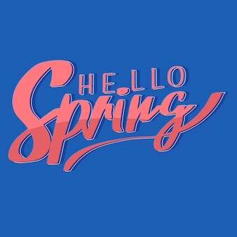Hello spring colorful lettering theme