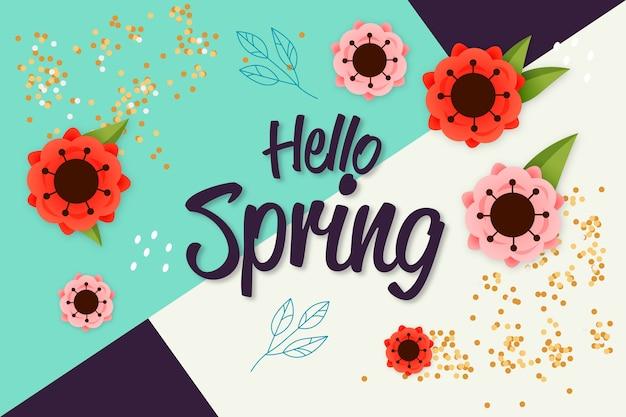 こんにちは春のカラフルなレタリング