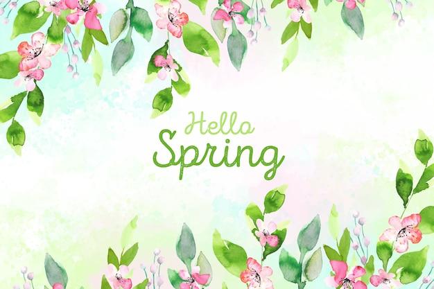 안녕하세요 봄 개념 수채화 스타일