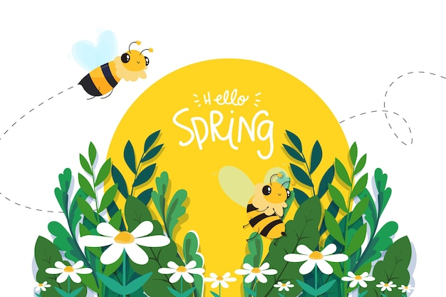 Hello spring concept with bees