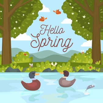 Hello spring concept with ducks