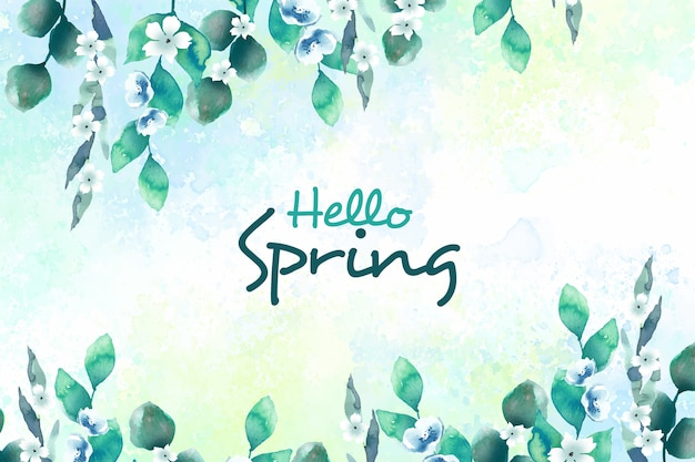 Hello spring concept with flowers