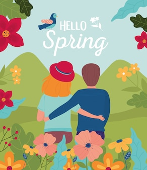 Hello spring couple character landscape flowers nature bird