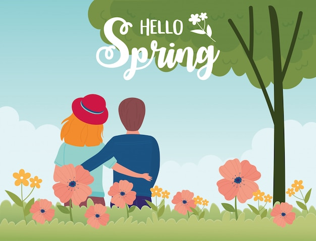 Hello spring couple tree flowers grass natural season