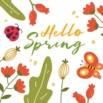 Привет весна декоративный цветочный шаблон