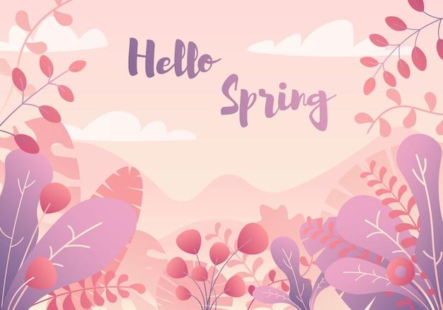 Hello spring. decorative tropical jungle background.
