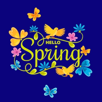 Hello spring design of lettering