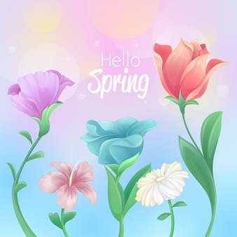 Hello spring design with beautiful flowers