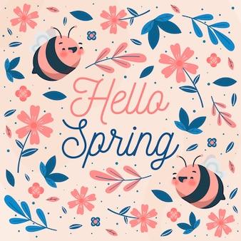 Привет весенний дизайн с пчелами и цветами