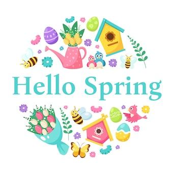 Hello spring elements. birdhouse, flowers, birds, bee