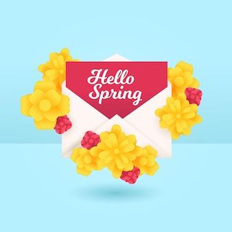 안녕하세요 봄 봉투 꽃 그림