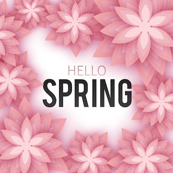 Hello spring floral background concept